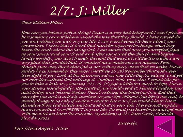 2/7: J: Miller