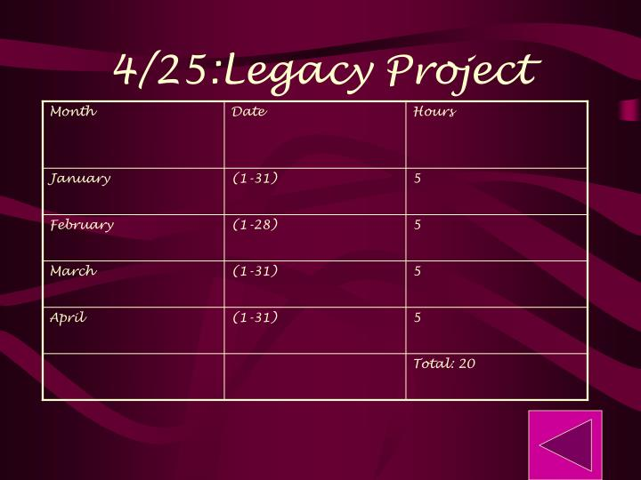 4/25:Legacy Project