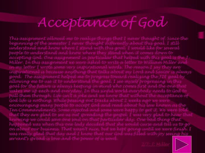 Acceptance of God