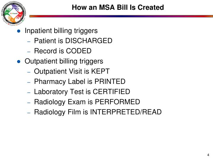 How an MSA Bill Is Created