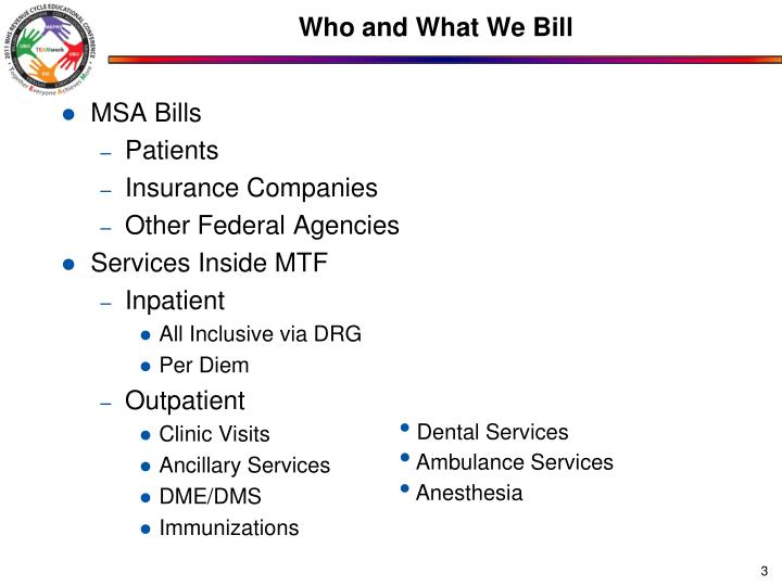 Who and what we bill