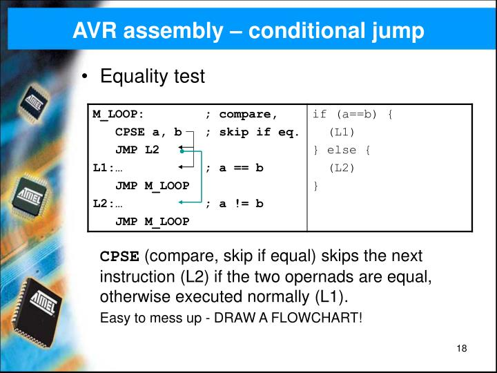 AVR assembly – conditional jump