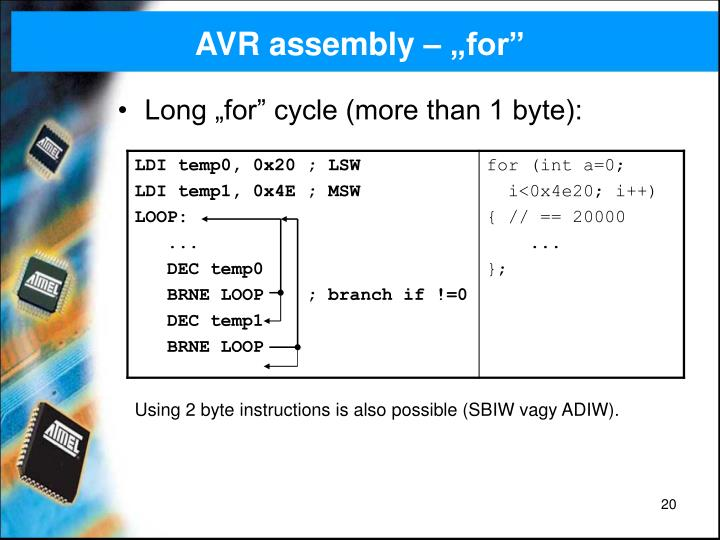 "AVR assembly – ""for"""