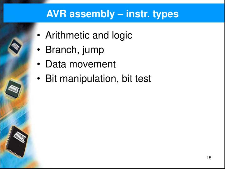 AVR assembly – instr. types