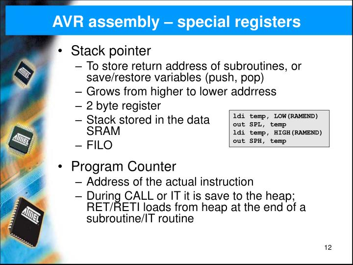 AVR assembly – special registers