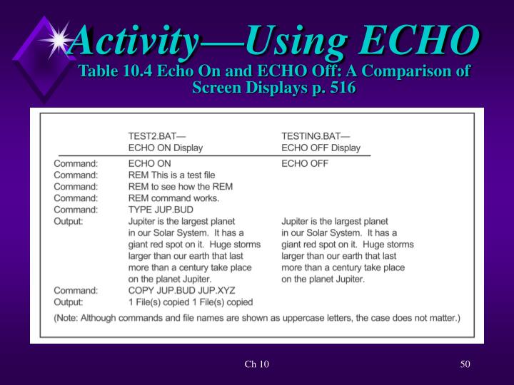 Activity—Using ECHO