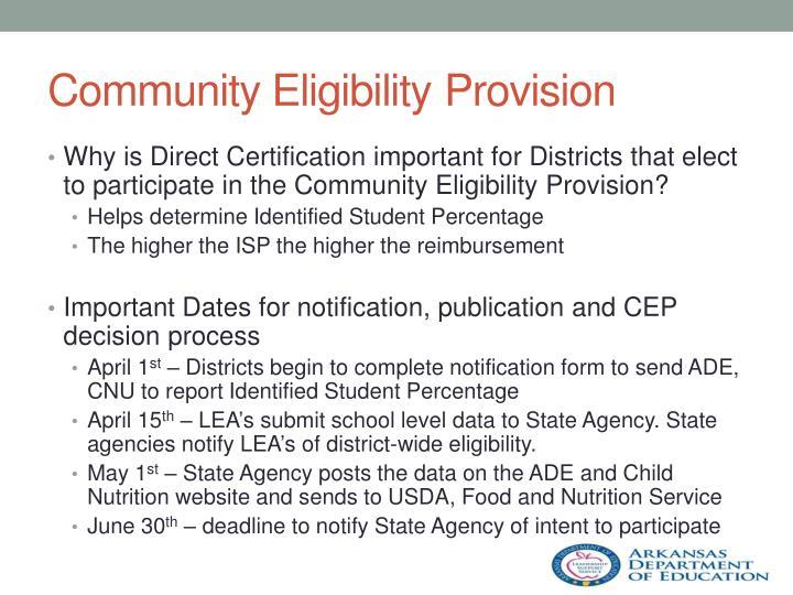 Community EligibilityProvision