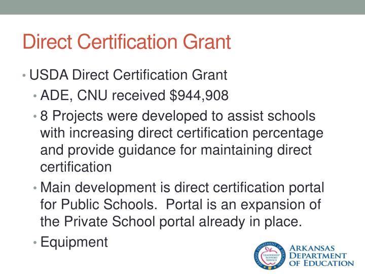 Direct Certification Grant