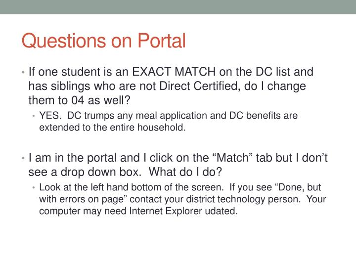 Questions on Portal