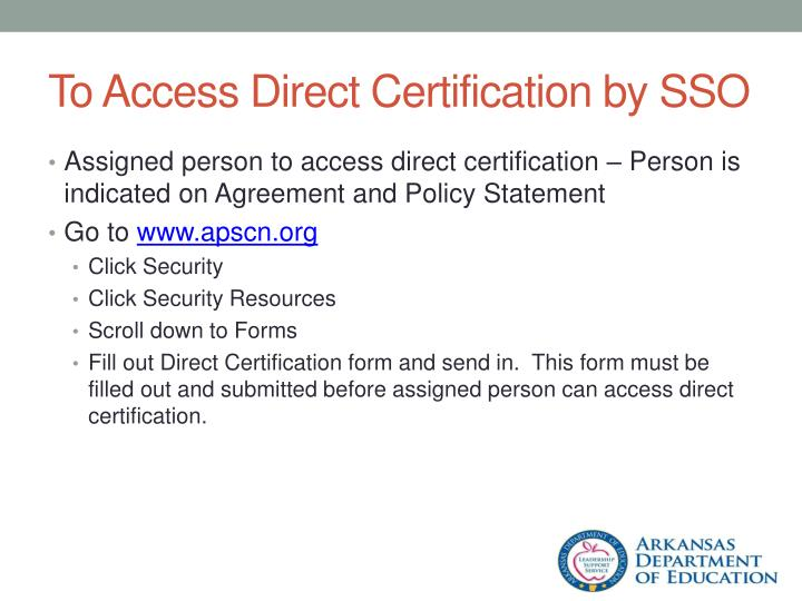To Access Direct Certification by SSO