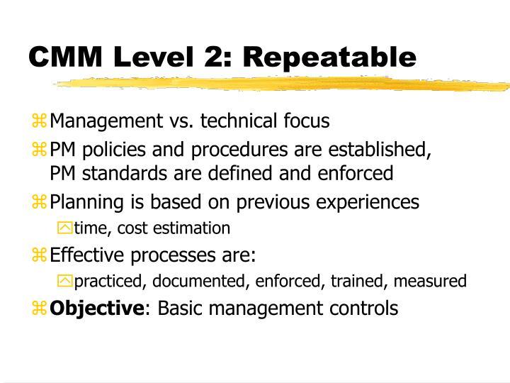 CMM Level 2: Repeatable