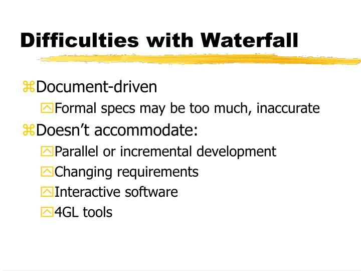 Difficulties with Waterfall