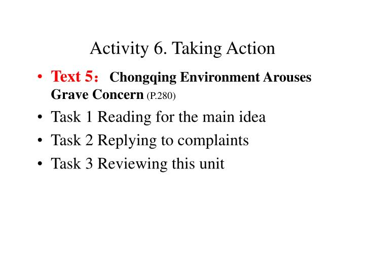 Activity 6. Taking Action