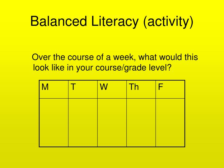 Balanced Literacy (activity)