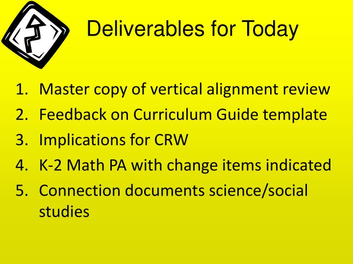 Deliverables for Today