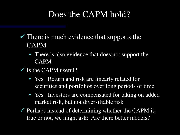 Does the CAPM hold?