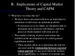 implications of capital market theory and capm