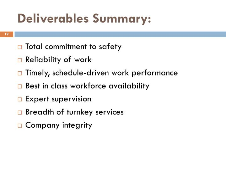 Deliverables Summary: