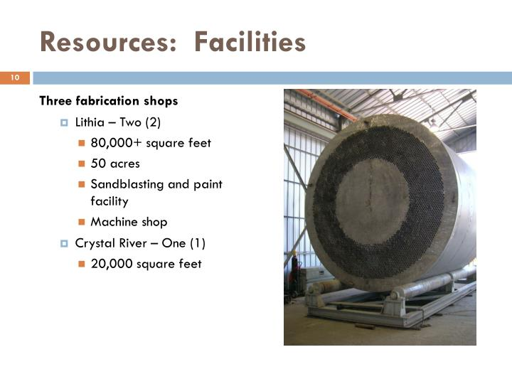 Resources:  Facilities