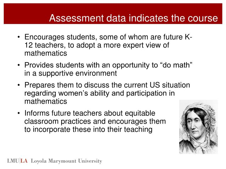 Assessment data indicates the course
