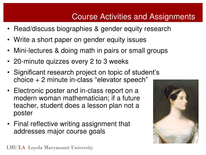 Course Activities and Assignments