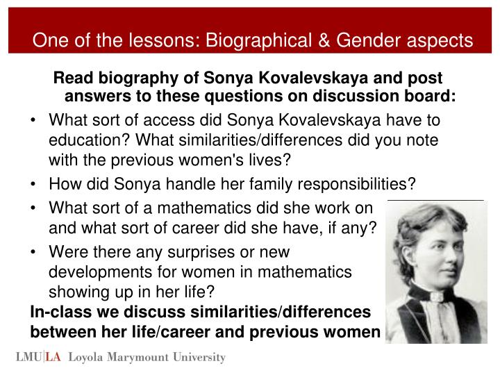 One of the lessons: Biographical & Gender aspects