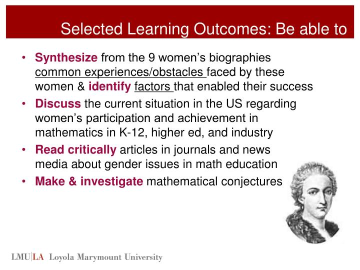 Selected Learning Outcomes: Be able to