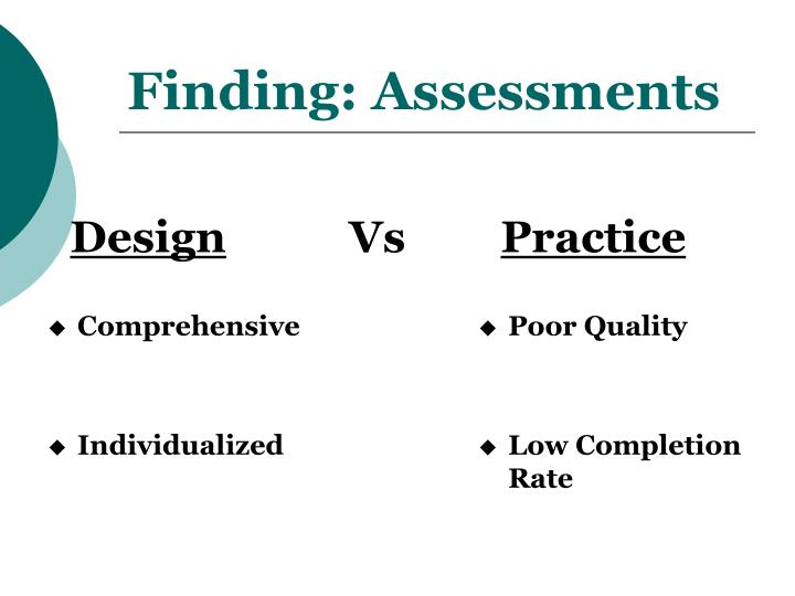Finding: Assessments