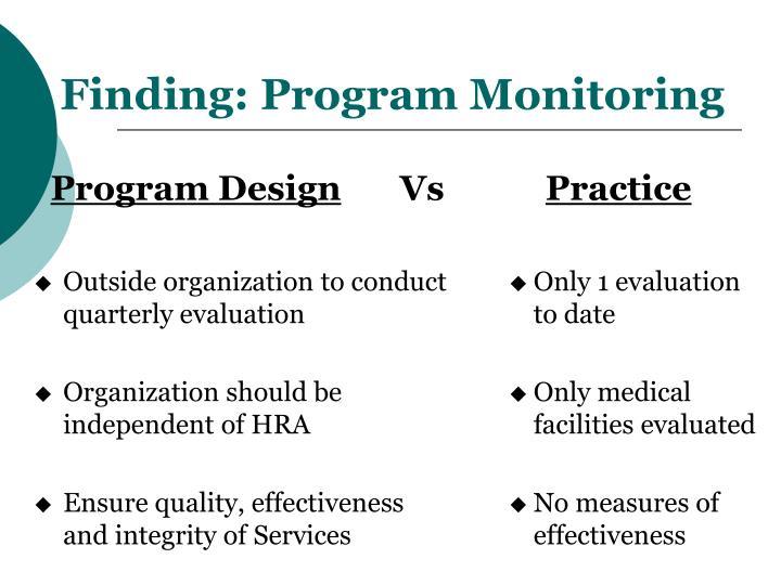 Finding: Program Monitoring