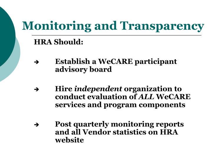 Monitoring and Transparency