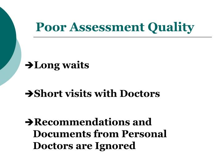Poor Assessment Quality