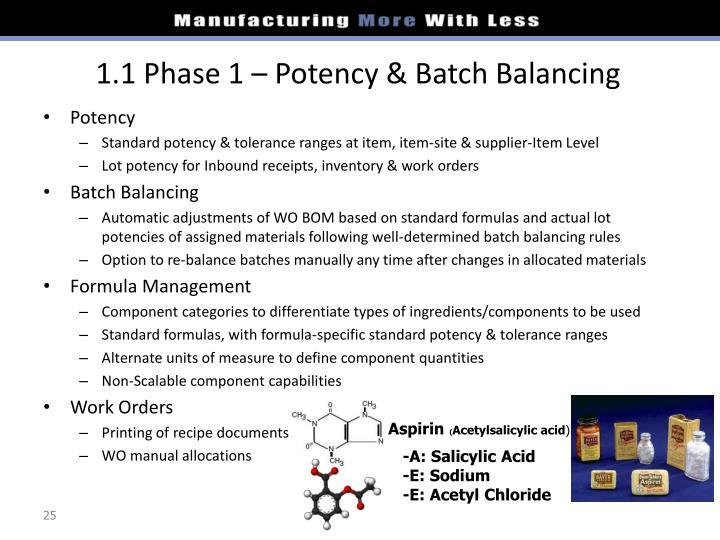 1.1 Phase 1 – Potency & Batch Balancing