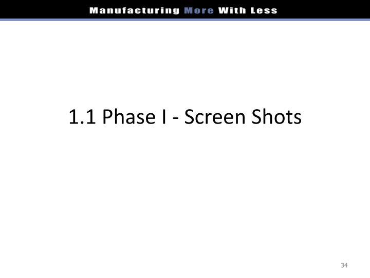 1.1 Phase I - Screen Shots