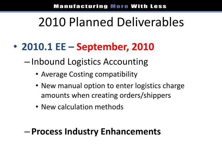 2010 Planned Deliverables