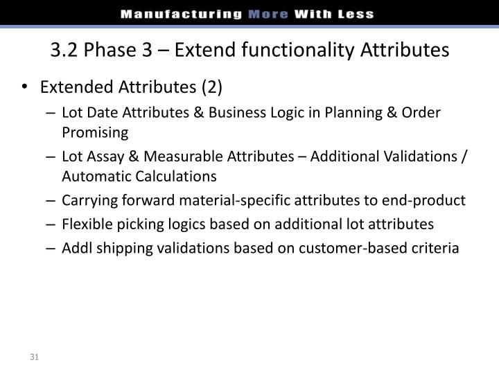 3.2 Phase 3 – Extend functionality Attributes