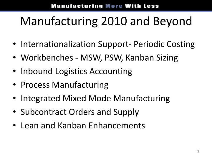 Manufacturing 2010 and Beyond