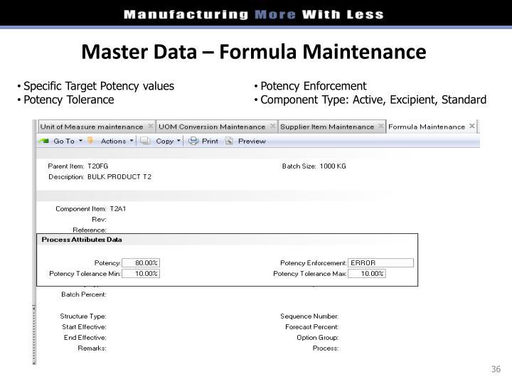 Master Data – Formula Maintenance