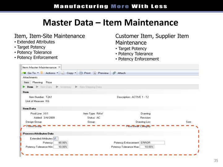 Master Data – Item Maintenance