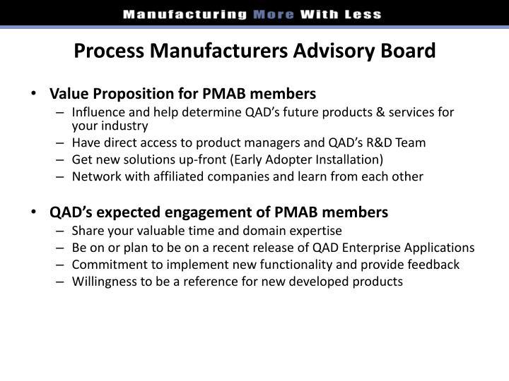 Process Manufacturers Advisory Board