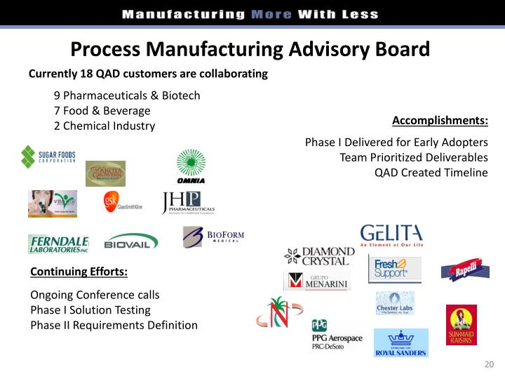 Process Manufacturing Advisory Board