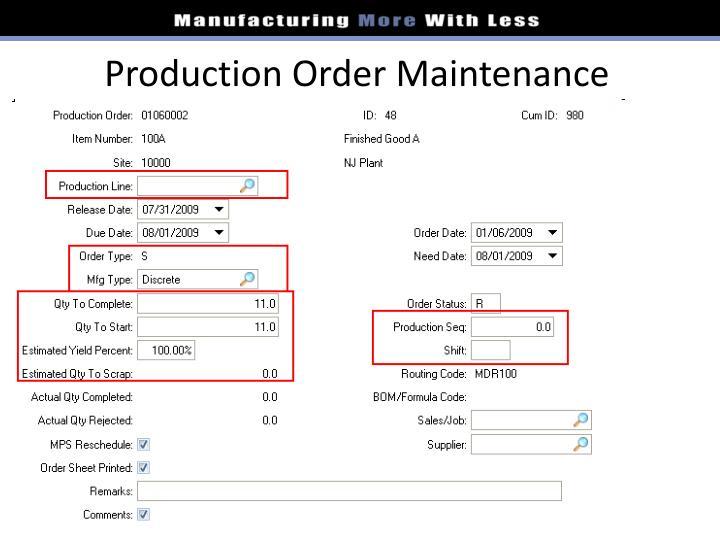 Production Order Maintenance