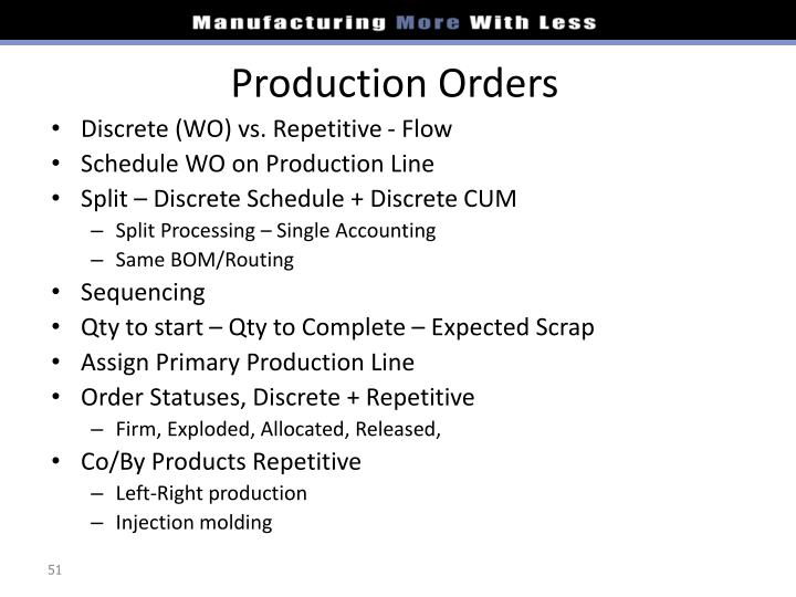 Production Orders