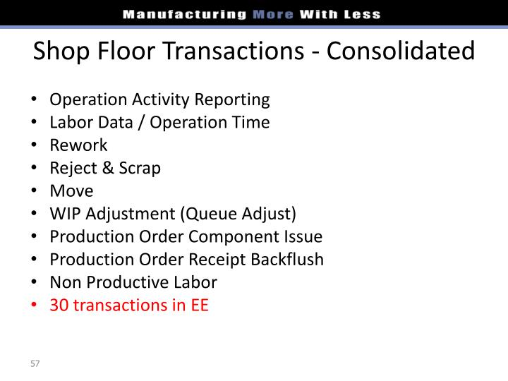 Shop Floor Transactions - Consolidated