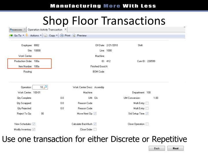 Shop Floor Transactions