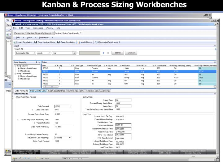 Kanban & Process Sizing Workbenches
