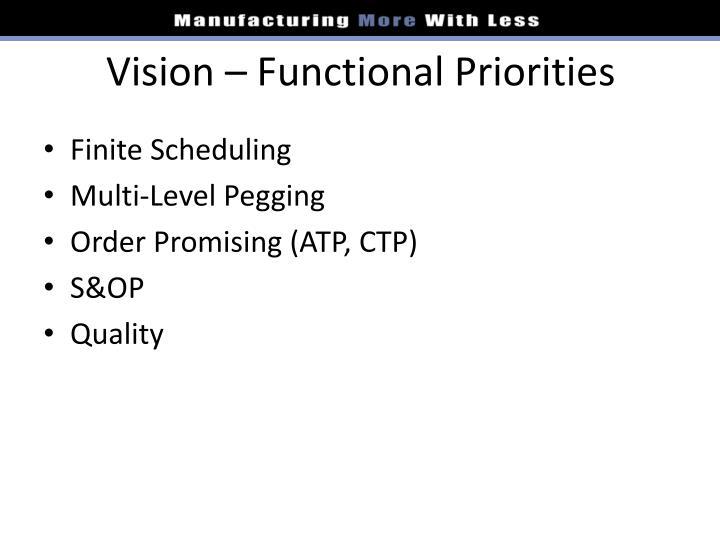 Vision – Functional Priorities