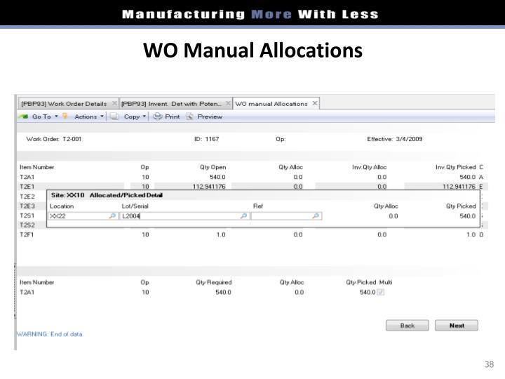 WO Manual Allocations