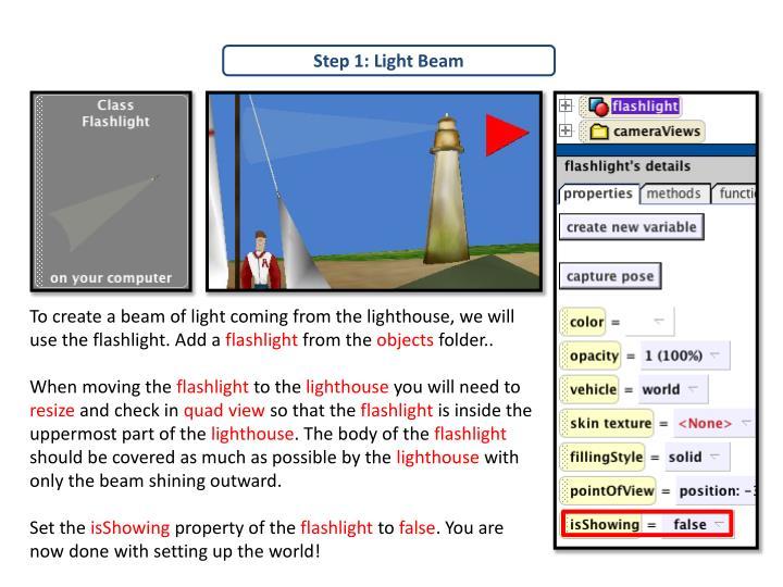 Step 1: Light Beam