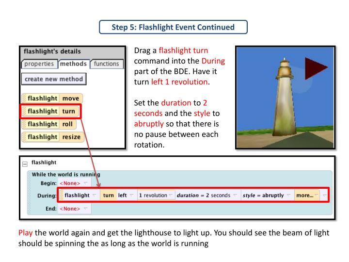 Step 5: Flashlight Event Continued