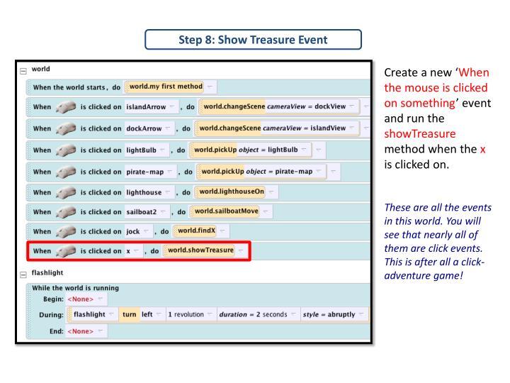 Step 8: Show Treasure Event